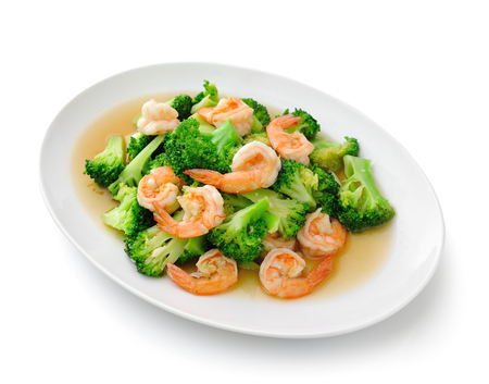 Thai healthy food stir-fried broccoli with  shrimp photo