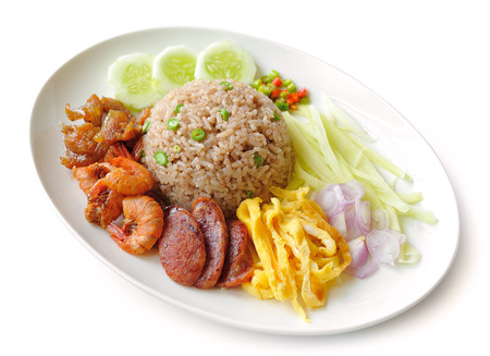 Fried rice with Shrimp paste, Thai style food photo