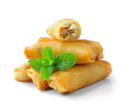 Fried Chinese Traditional Spring rolls food isolated on white background photo