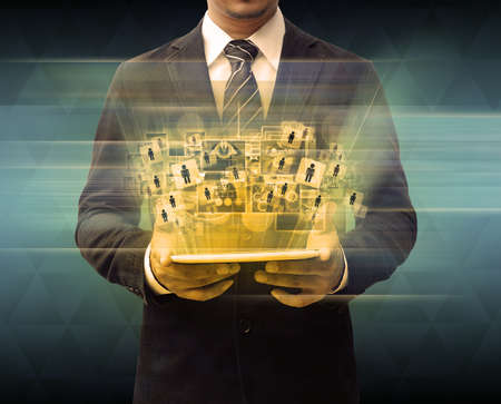 businessman holding tablet technology business concept photo