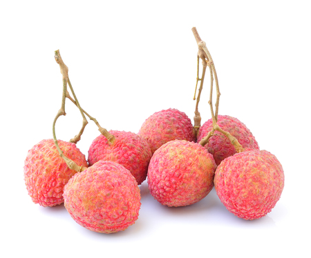 lychees:  lychees isolated on white background Stock Photo