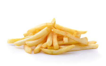 french fried potato: French fries isolated on white  Stock Photo