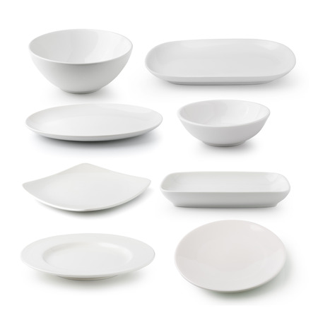 white ceramics plate and bowl isolated on white background Stock Photo