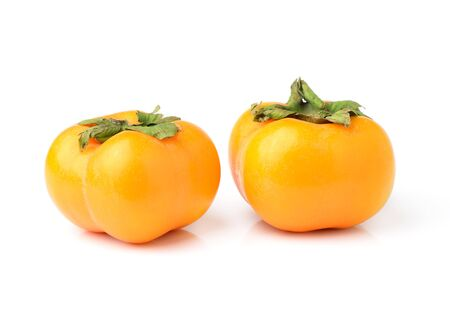 persimmons: ripe persimmons isolated on white background Stock Photo