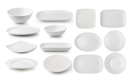 white ceramics plate and bowl isolated on white background Stok Fotoğraf