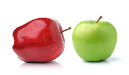Red and green apple  isolated on white background photo