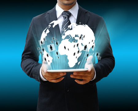 businessman using touch pad photo