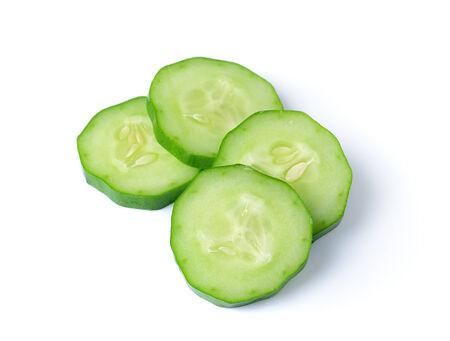 Fresh slice cucumber on white background photo