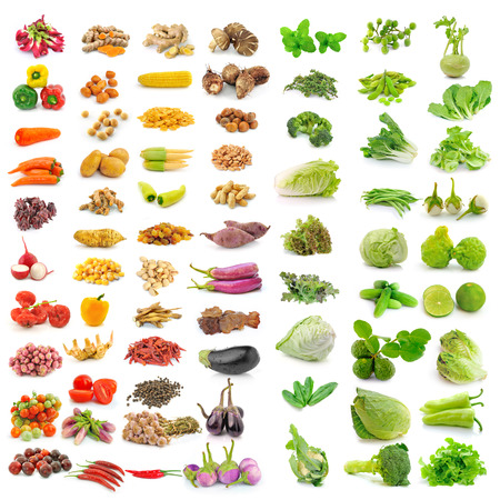 vegetable, herb, spices isolated on white background photo