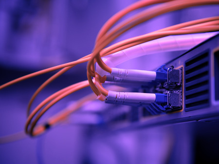 network optical fiber cables and hub photo