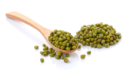 Pile of mung beans isolated on white background photo