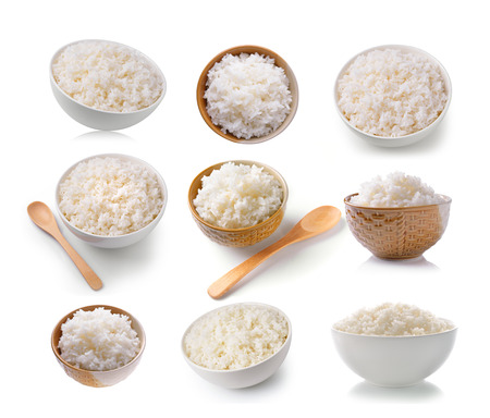 set of Rice in a bowl on a white background Stock Photo