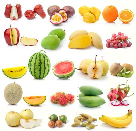 set of fruit on white background photo