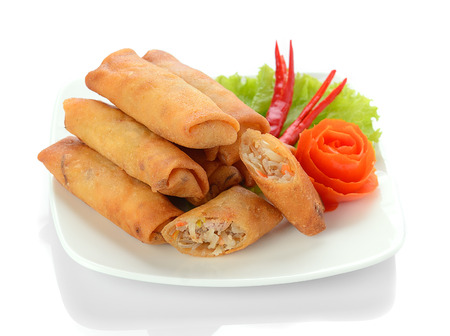 Fried Chinese Traditional Spring rolls food Imagens
