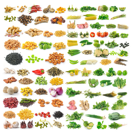 bitter fruit: set of vegetable grains and herbs on white background Stock Photo