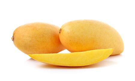 Ripe mango isolated on white background photo