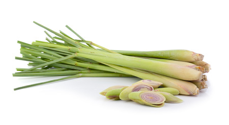 fresh lemon grass on over white background