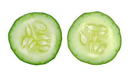 Fresh slice cucumber isolated on white background photo