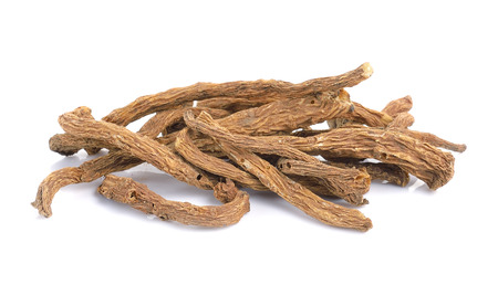 codonopsis roots: angelica sinensis herb on a white background