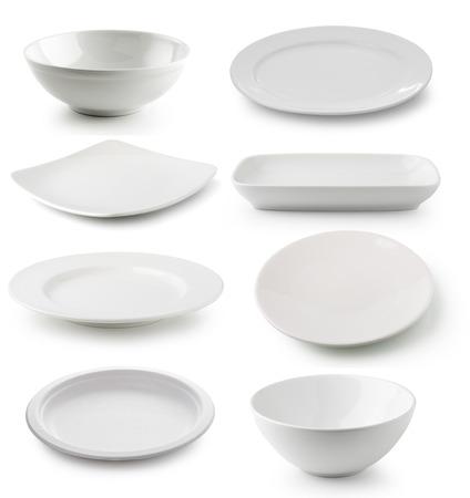 흰색 도자기 접시와 그릇 흰색 배경에 고립 스톡 콘텐츠