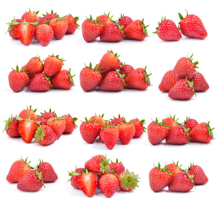 set of strawberry on white background photo