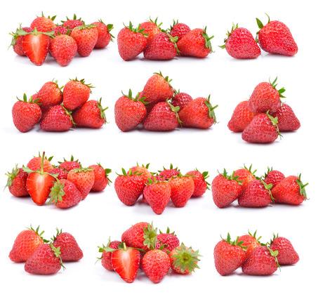set of strawberry on white background photo