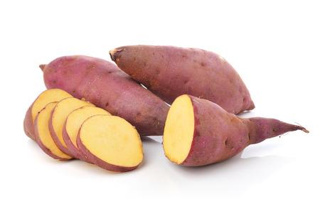sweet foods: sweet potato on the white background