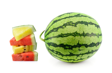 red  and yellow water melon on white background photo