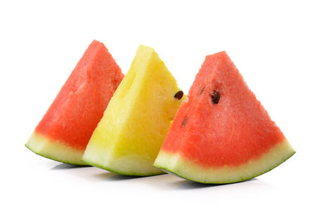 red yellow water melon on white background photo