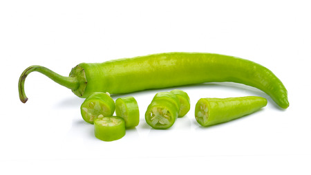 Green peppers isolated on white background Imagens