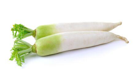 fresh white radish on a  white background 스톡 콘텐츠