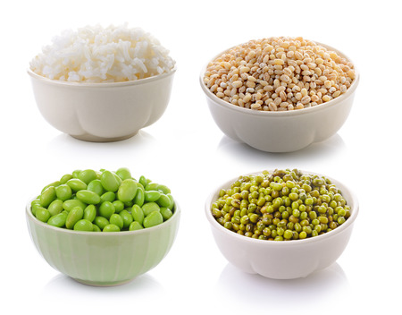 soy beans , Rice, Jobs tear seed, Green mung beans in a bowl on a white background photo