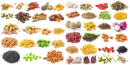set of grains and herbs on white background photo