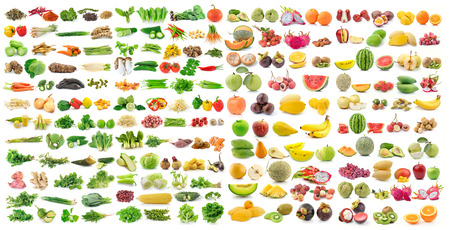 set of vegetable and fruit on white background Stock Photo