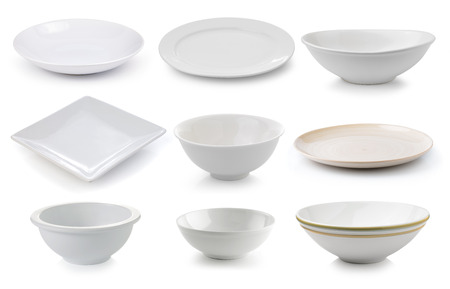 ceramics plate and bowl isolated on white background Banque d'images