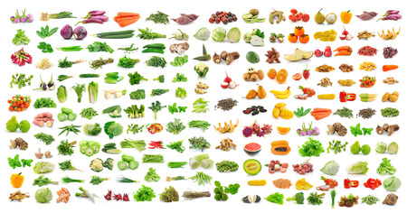 bitter fruit: set of vegetable and fruit on white background Stock Photo