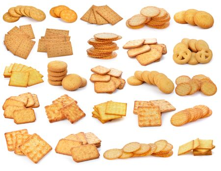 Cracker and  cookie isolated on  over white background photo