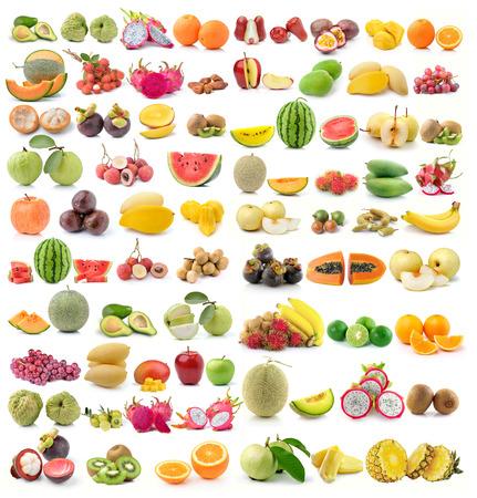 白い背景の上のフルーツのセット 写真素材
