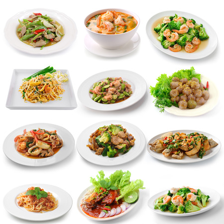 set of thai food on white background