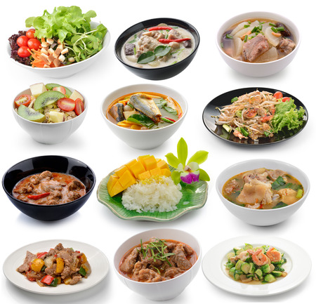 set of thai food on white background Stock Photo - 39020667
