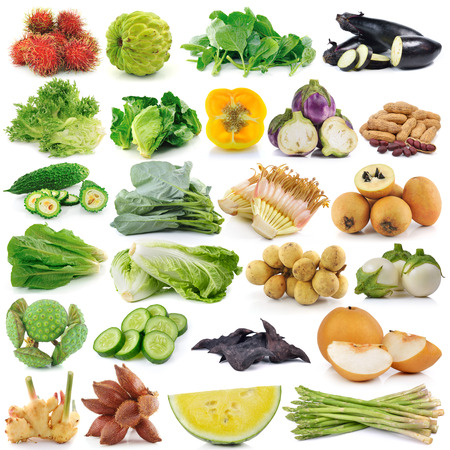 set of fruit and vegetable on white background photo