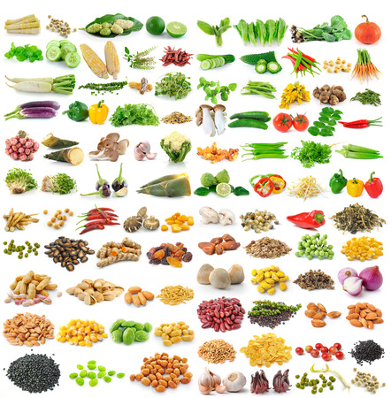 set of grains and vegetables on white background
