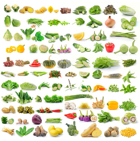 bitter fruit: set of vegetables isolated on white background