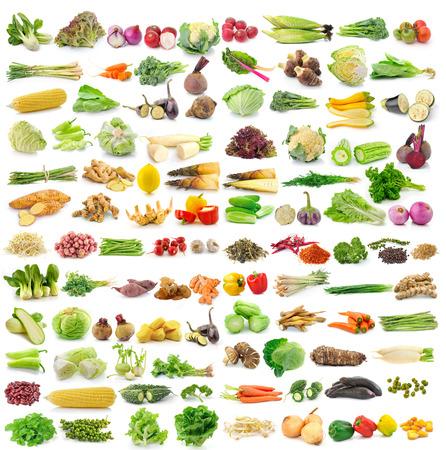 set of vegetables on white background photo