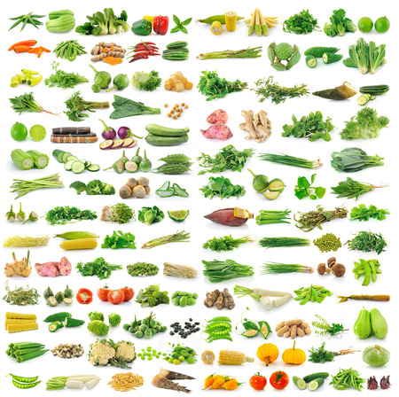 vegetable: fresh vegetables isolated on a white background