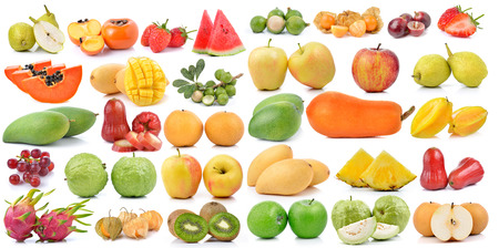 fruits collection isolated on white background photo