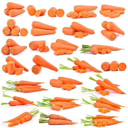 carrot: zanahorias frescas aisladas sobre un fondo blanco