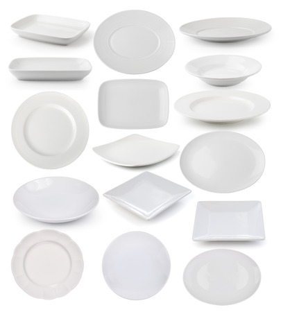 plato de comida: placas de color blanco sobre fondo blanco
