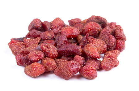 freeze dried: dried strawberries isolated on a white background Stock Photo