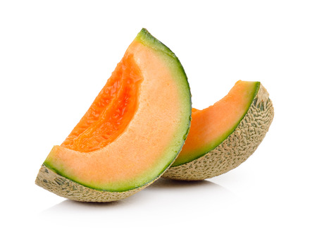 cantaloupe meloen geïsoleerd op witte achtergrond